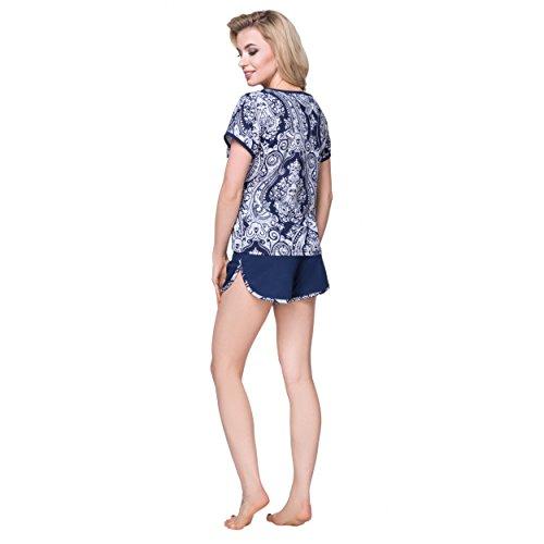 Alkato Damen Shorty Pyjama Set T-Shirt & Shorts Baumwolle Paisley Dunkelblau