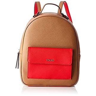 41PLgRO2ReL. SS324  - Tous Mochila Essence MARRÓN-Rojo, Bolso Mujer, 25x31x12 cm (W x H x L)
