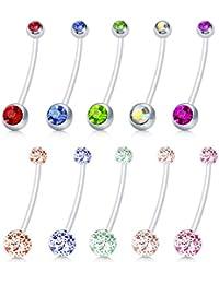Briana Williams 10pcs Clair De Grossesse Maternité Ventre Bouton Anneaux Nombril Flexible Bioflex 1.6mm 38mm Longueur Glitter Ball