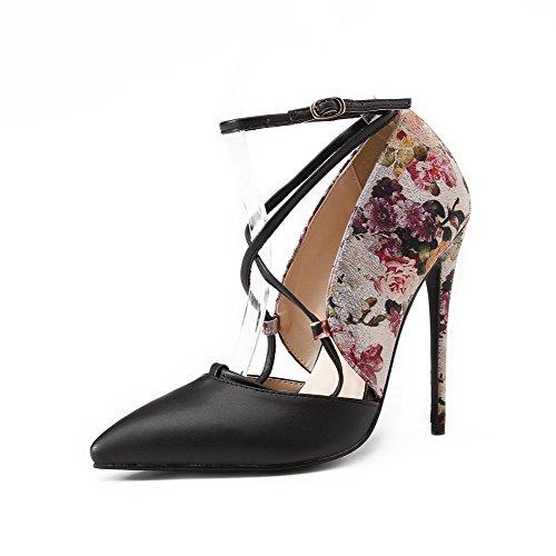 AllhqFashion Damen Schnalle Hoher Absatz Gemischte Farbe Spitz Zehe Pumps Schuhe Schwarz
