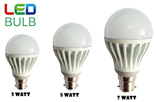 LED Bulb (Set of 03 Pcs) 3W+5W+7W (Durable & Long Life Bulb) High Power Saving LED Bulbs By Inditradition ®