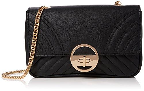 New Look Quilt Chain, Sacs portés épaule femme, Black, 9x14x22 cm (W x H L)