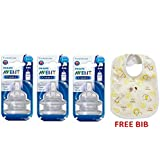 Philips Avent Classic Teat (3 Holes Medium Flow - 3months+) (2 Pc. Pack) 6 Teat And Baby Bib Free