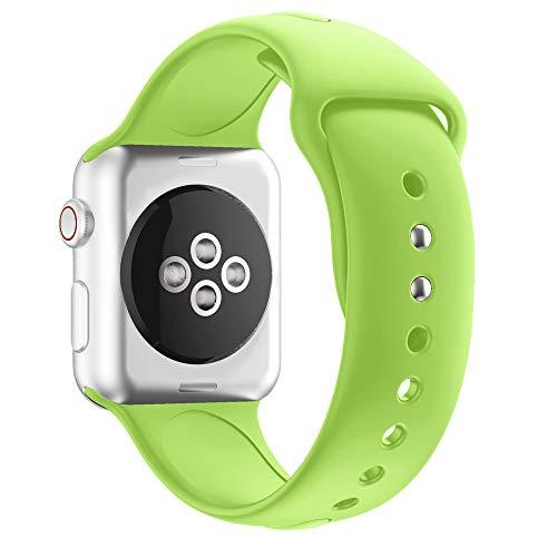 Cooljun kompatibel Apple Watch Armband 40mm, Soft Silikon Ersatz Uhrenarmbänder Sport Smart Watch Armbänder Uhrenarmband für iWatch Apple Watch Series 4 (Grün) Free Nylon Armband