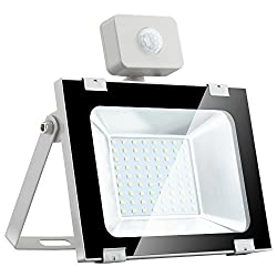50W LED Strahler mit Bewegungsmelder, Yuanline LED im Freien Fluter, 5000LM 6500K IP65, Wandleuchte Aussen für Garten, Garage, Golfplatz (50W Kaltes Weiß)