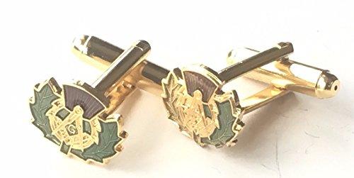 personalisierbar Freimaurer Wappen in Manschettenknöpfe Schottische Distel Emaille CRESTED (N230) (Schottische Manschettenknöpfe)
