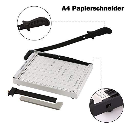 A4 Papierschneider Profi Fotoschneider Hebelschneider Papierschneidemaschine Schneidegerät Bindegerät Schrottmaschineider für Schule und Büro, 34 x 25 x 3 cm