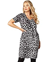 dd6e5865d28e Roman Originals Women Animal Print Dress with Pockets - Ladies Knee Length  Leopard Vneck Stretchy Slouch