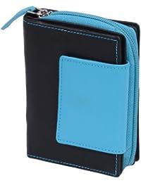 Portefeuille avec compartiment à fermeture éclair LEAS, cuir véritable, noir-bleue - ''LEAS Zipper-Collection''