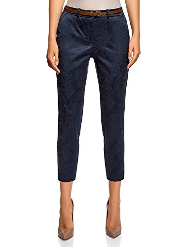 Oodji collection donna pantaloni in jacquard con cintura, blu, it 44 / eu 40 / m