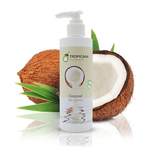 Tropicana Kokosöl Körperlotion mit Kaltgepresstem Nativem Kokos Öl | Feuchtigkeitspflege für schöne Haut | Kokosnuss Körpercreme Bodylotion mit Vitamin E und Vitamin B3 | Vegan Naturkosmetik Creme