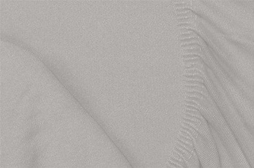 Double Jersey - Spannbettlaken 100% Baumwolle Jersey-Stretch bettlaken, Ultra Weich und Bügelfrei mit bis zu 30cm Stehghöhe, 160x200x30 Silber Grau - 7