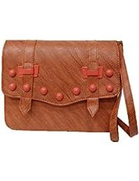 Women's Leather Sling Bag (Brown) - B078NXMW93