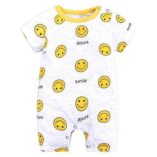 LABIUO 0-18 Monate Baby Strampler Jungen Schlafanzug Baumwolle Karikaturdruck Kurze Ärmel Overalls Ente Bär Lamm Welpe Smiley Gesicht Muster Outfits(Gelb,3-6 Monate)