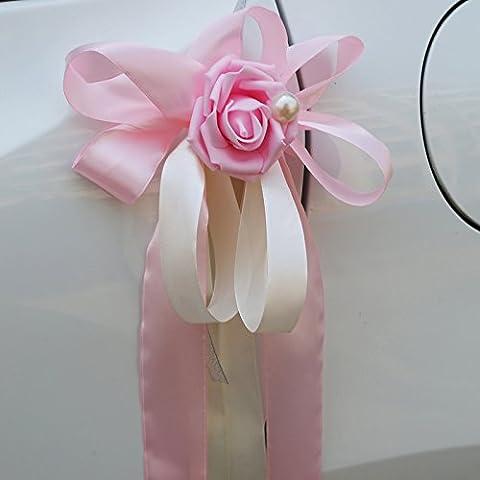Pull Bögen 10PCS Rose Blume Weihnachten Geschenk Knoten Band Saiten hellrosa