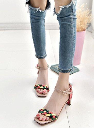 Farbige gewebt dick mit offenen Sandalen Schnalle Wort elegant Temperament weibliche Drag Pink
