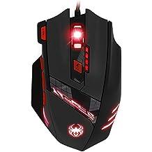 KingTop Ratón Gaming Óptico para PC Ordenador Portátil con USB Conexión, 6 DPI Ajustable 1000-9200 DPI, 6 LED Color Opciones, 8 Botones