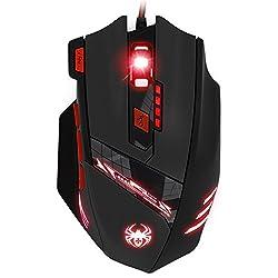 KINGTOP Optische Gaming-Maus, Verbindung zum PC per USB-Anschluss, 6dpi-Stufen von 1000 bis9200dpi, 6LED-Farben, 8Tasten, individuelle Anpassung des Gewichts