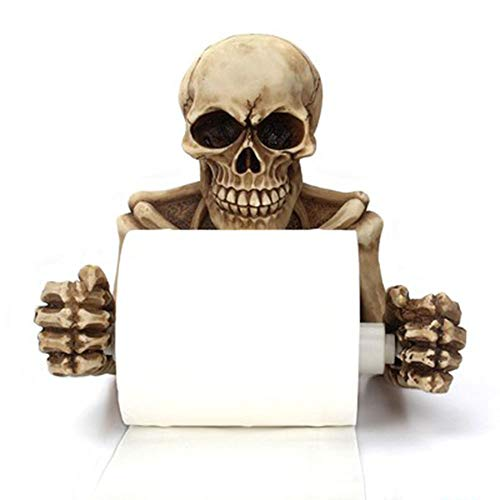 TYI Retro Wandbehang Skeleton Papier Handtuch Pumping Kreative Horror Gesicht Harz Rollenpapier Halter Wohnzimmer Schlafzimmer Reel Skulpturen und Neuheit Badzubehör