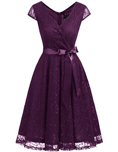 Dresstells Damen Spitzenkleid V-Ausschnitt kurz Brautjungfern Cocktailkleid Abendkleider Grape 2XL