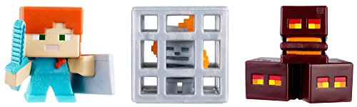 Skeleton in Cage Minecraft Mini Figure - Magma Cubes, Alex with Shield by Mattel (Mini Minecraft)
