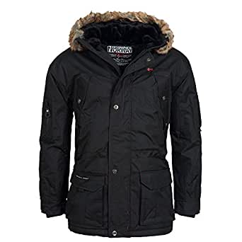 Geographical Norway Men's Winter Jacket Parka Parker - Black, 3XL