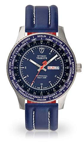DETOMASO Trieste Herren-Armbanduhr mit silbernen Edelstahlgehäuse und blauem Zifferblatt. Elegante Quarz Herren-Uhr mit blauem Leder-Armband