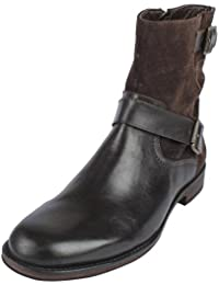Salt N Pepper BLACK / BROWN Leather Boots For Men's