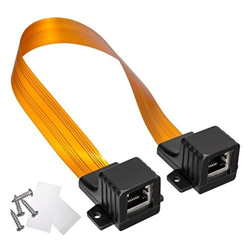 HB Digital LAN Ethernet RJ45 Fensterdurchführung Kabel High-Quality Gold + 2 Befestigungsschrauben + 2 x Klebepads (doppelseitiges Klebeband) für Fenster und Türen Ultra Flach