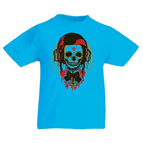 T-Shirt per Bambini Un Teschio di Moda con Il Casco del Motociclo (5-6 Years Azzurro Multicolore)