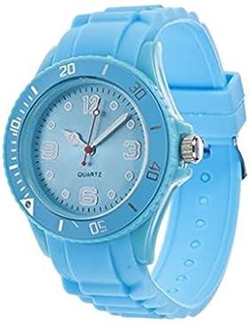 Unisex Bunt Silikon Uhr watch Armbanduhr Damenuhr Herrenuhr Uhr Jenny Trend Hellblau