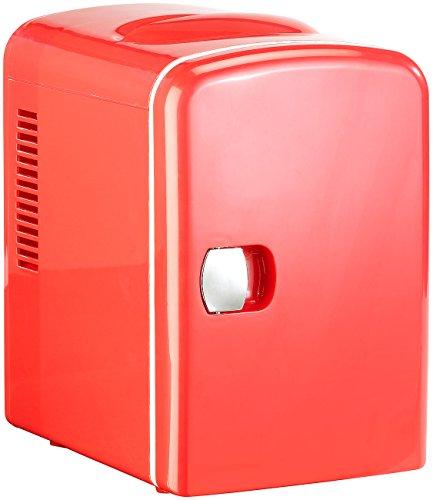 Rosenstein & Söhne Kleiner Kühlschrank: Mini-Kühlschrank mit Warmhalte-Funktion, 4 Liter, für 12/230 Volt, rot (Mini Kühlschrank für Dosen) (Mini Kühlschrank Camping)