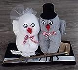 Frotteebox Geschenk Set Eulenpaar aus 2X Handtuch (100x50cm) 1x Gästetuch (50x30cm) und 2X Waschhandschuh grau/weiß geformt