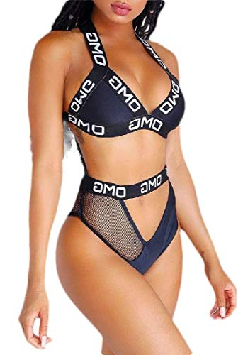 Go First Frauen Badeanzug Sexy Brief Drucken Bandage Triangle Bikini Set Zweiteiler Badeanzug Beachwear (Color : Dark Blue, Size : US X-Small) - Drucken Krawatte Set