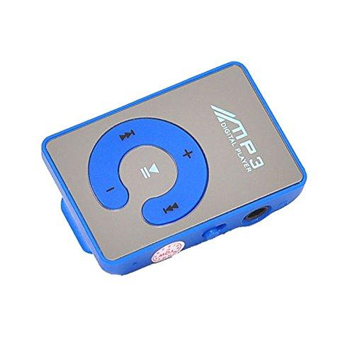SamMoSon Supporto per lettore di musica Mp3 digitale con specchio a clip USB 1-8GB SD TF Card | Clip MP3 per specchio a forma| Aspetto ricercato alla moda e intelligente, pregevole fattura Blu