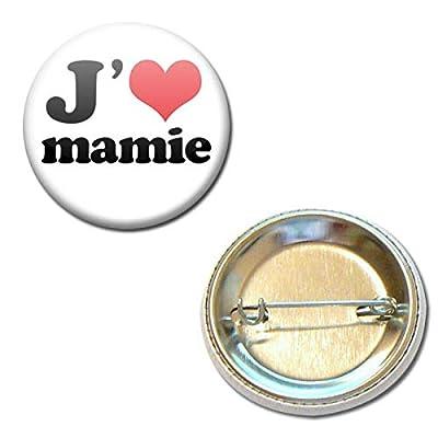 J'aime Mamie Badge Rond à Épingle 3,8 centimètres Idée Cadeau Accessoire Mamy Mamie Mémé Fête Grand Mère Noël Anniversaire