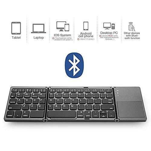 Mengen88 Kabellose Bluetooth-Tastatur, dreifach klappbare Tastatur mit Touchpad für mehrere Geräte, für Laptop/Desktop/Smartphone/Tablet - 64-Tasten