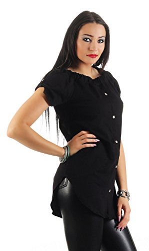 11199 Fashion4Young Damen Sommer Bluse Tunika Shirt Longbluse Kurzarm Schwarz