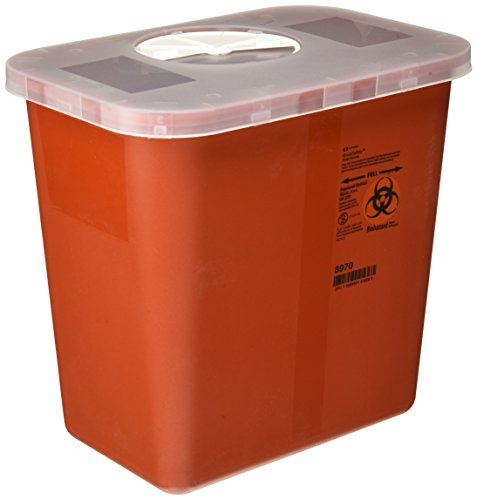 Kendall Multi-Purpose Sharps Red Container with Rotor Lid, 7.6l - Red Sharps Container