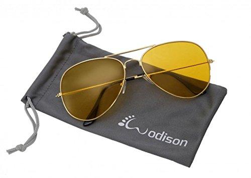 WODISON Vintage-Flieger-Sonnenbrille Reflektierende Spiegel-Objektiv (Gold Frame gelbe Linse)