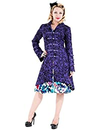 Pretty Kitty Fashion Purple Vintage Tattoo Flock Fabric Long Coat