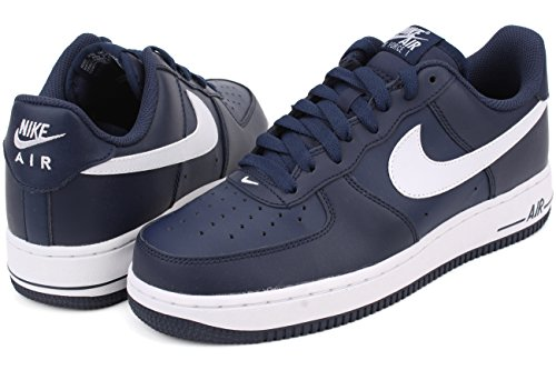 Nike  Air Force 1, espadrilles de basket-ball homme Multicolore - Azul / Blanco (Midnight Navy / White-Mid Navy)