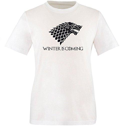 EZYshirt® Game of Thrones | Winter is coming | Schattenwolf Herren Rundhals T-Shirt Weiß/ Schwarz