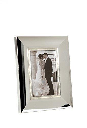 lderrahmen versilbert anlaufgeschützt inkl Wunschgravur Fotorahmen 10x15 Silber glänzen mit Perlenmuster mit Gravur ()