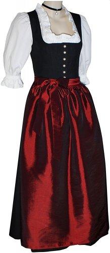 Gr.34-50 Steppmieder Dirndl +Schürze Kleid Dirndlkleid Trachtenkleid schwarz, (Gothic Brautkleid Red)