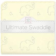 SwaddleDesigns Manta Envolvente Ultimate, Franela de Algodón de calidad superior, Elefantes plata sobre color