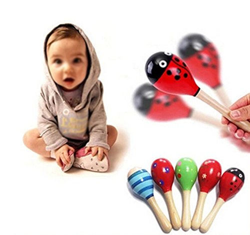 LAAT 1PC Kids Baby Music Toy Wood Maracas Wooden Rattle Shaker Toy Favor Gift for Kid Baby-Random Color /23cm
