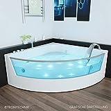 TroniTechnik Whirlpool Badewanne SAMOS mit Schiene 150cm x 150cm mit Heizung Hydromassage und Farblichtherapie