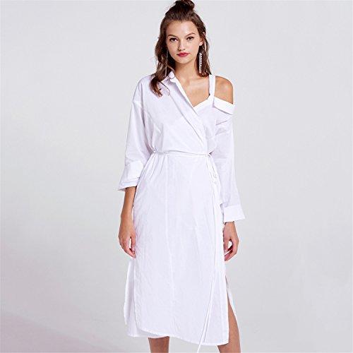 Moda asimmetrico Monospalla Spalle Scoperte a portafoglio Vita nodo Skater A-Line Linea Ad A Svasato Midi Longuette Shirt Camicia Dress Vestito Abito bianco Bianco