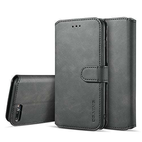 Homikon - Custodia a portafoglio in pelle PU per iPhone 7 Plus/8 Plus, sottile, con funzione leggio e scomparti per carte di credito, chiusura magnetica, Nero